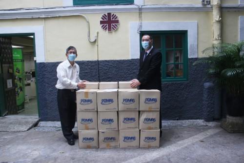 中國澳門柔術聯合會捐贈60桶3.8公升酒精搓手液