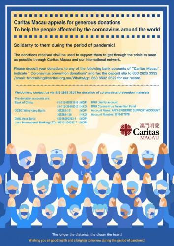 Caritas Macau appeals for generous donations